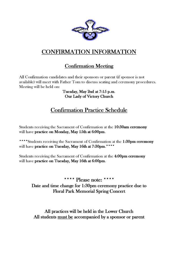 Confirmation Practice Schedule